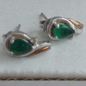 starling silver and gold emerald earring